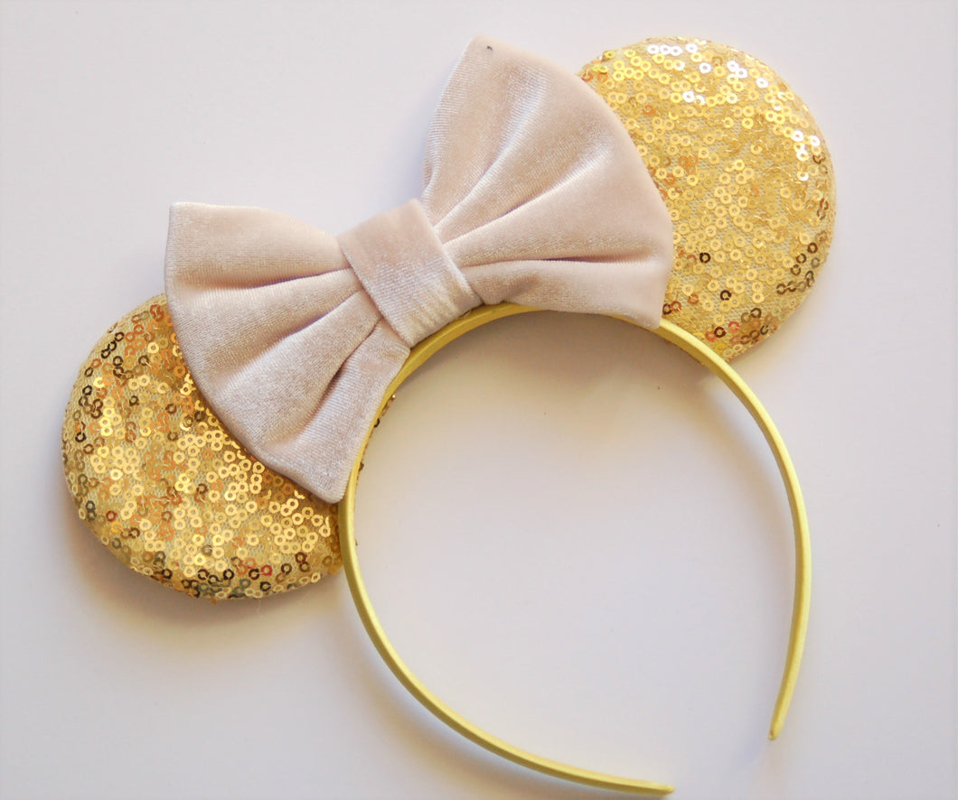 Gold and Ivory Velvet Mouse Ear Headband