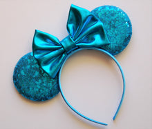 Load image into Gallery viewer, Aqua Blue Mouse Ear Headband