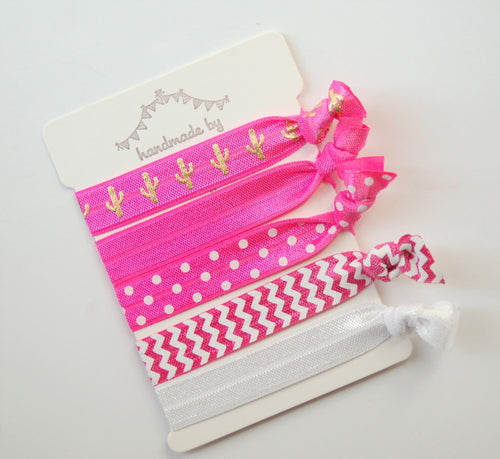 Pink & White Hair tie set