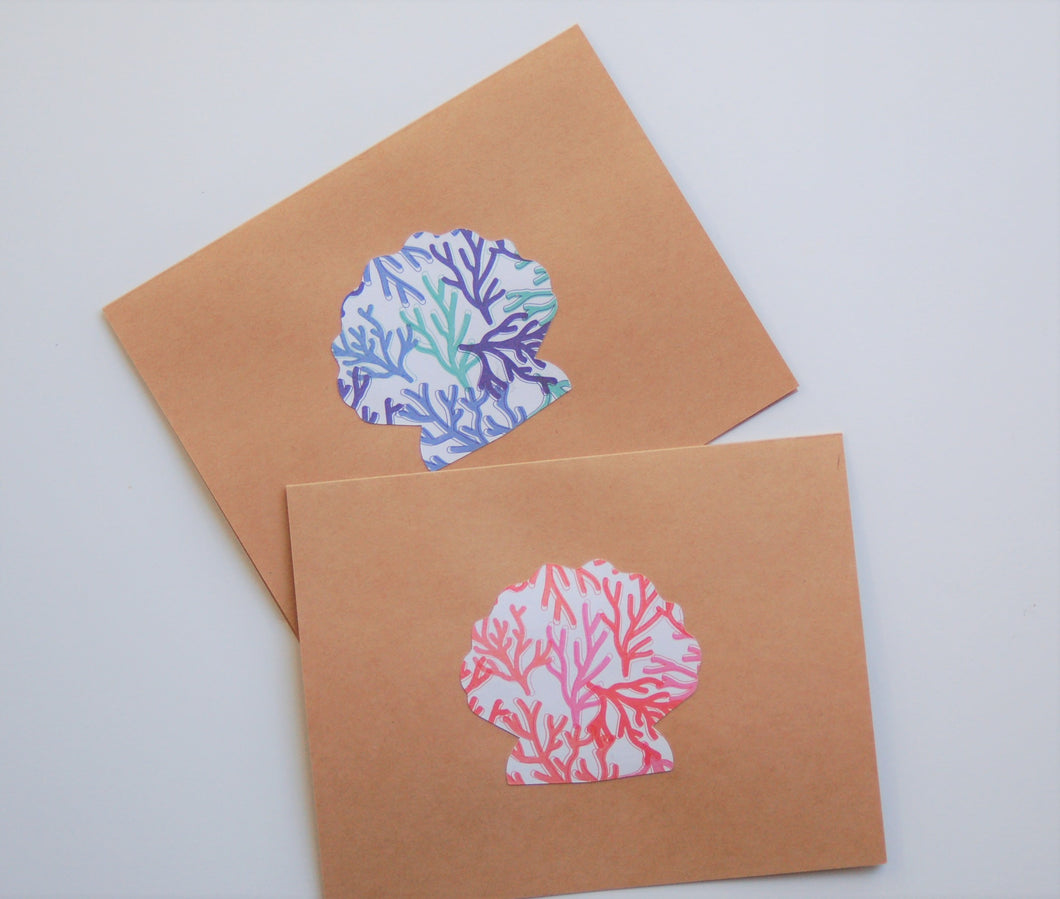 Coral & Blue Seashell note cards