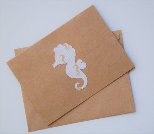 Seahorse Note Cards - Tan