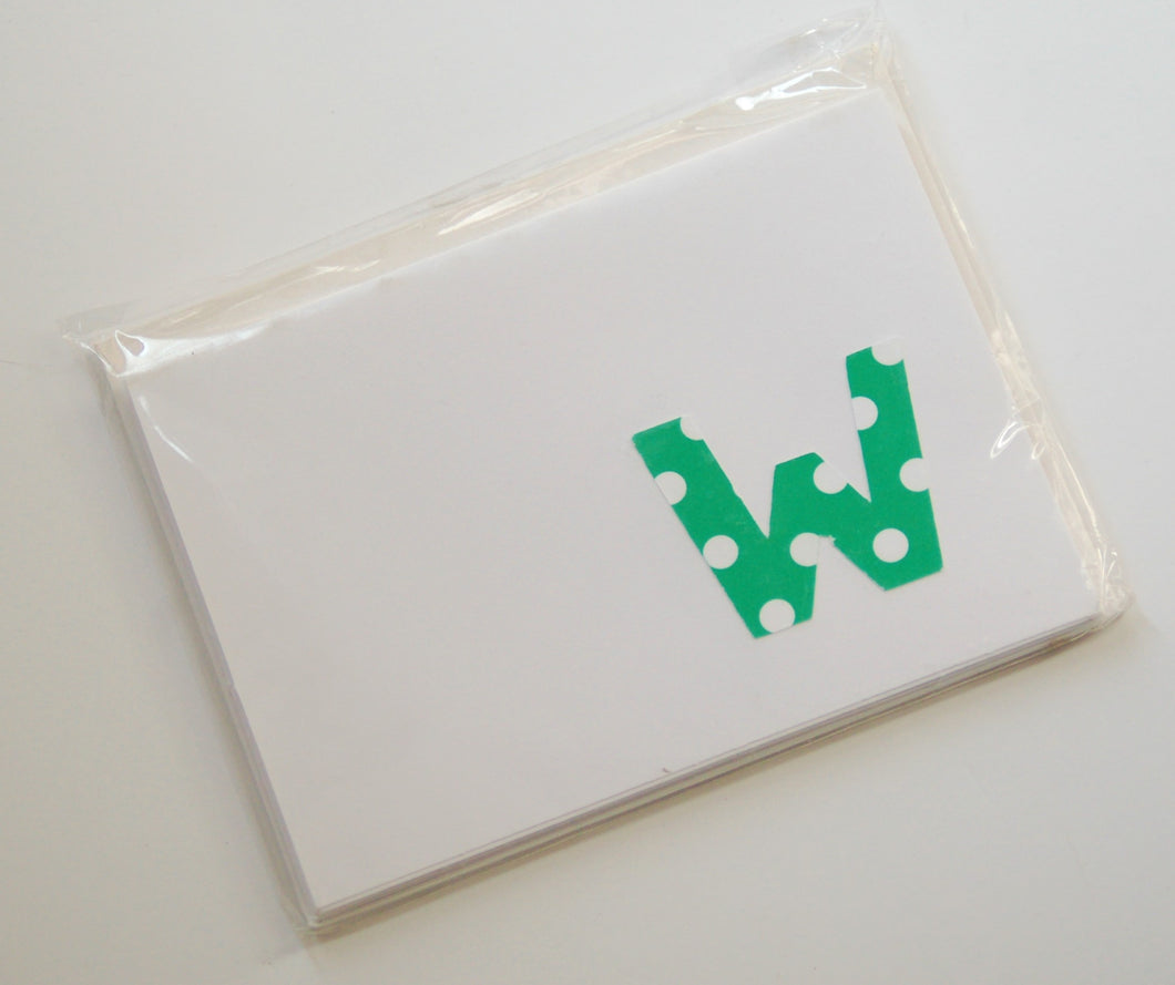 Letter W note cards - Sale
