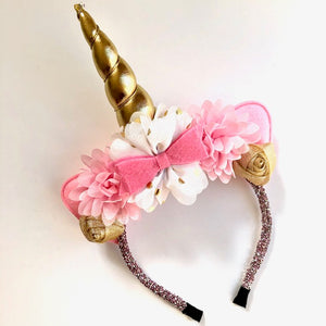 Pink & Gold Unicorn Headband with Glitter Headband