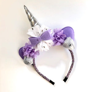 Purple & Silver Unicorn Headband with glitter headband