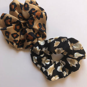 Animal print scrunchies