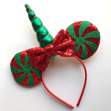Load image into Gallery viewer, Holiday Unicorn Mouse Ear Headband