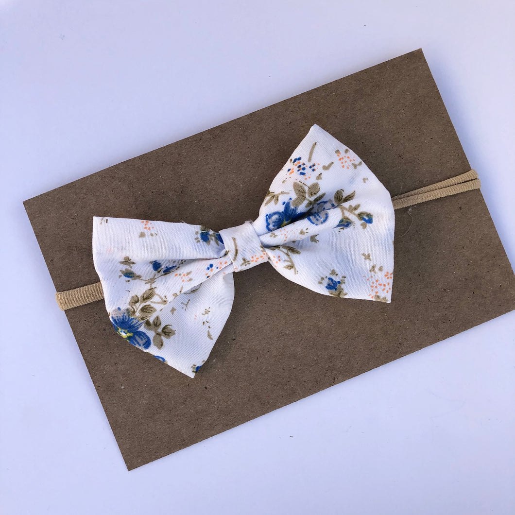 White Flower Bow on Nylon Headband