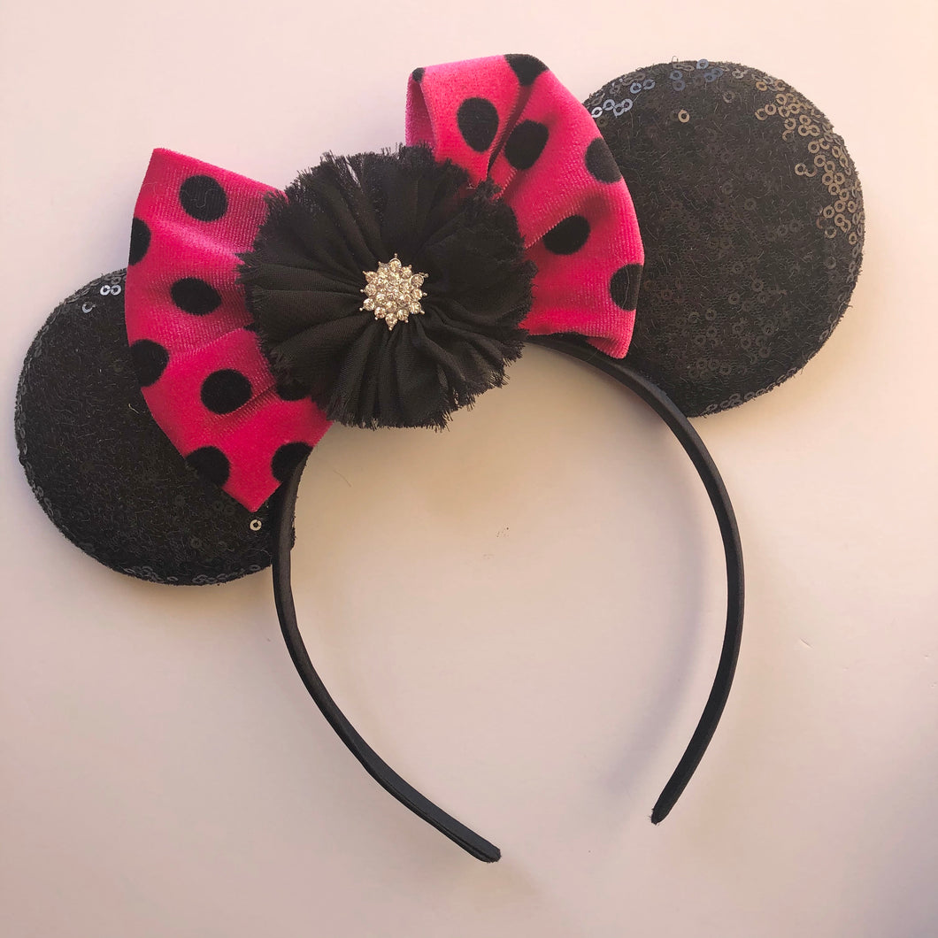 Hot pink & Black Mouse Ear Headband