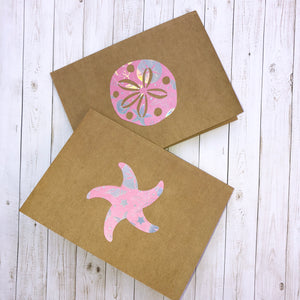 Pink Starfish & Sand Dollar note cards