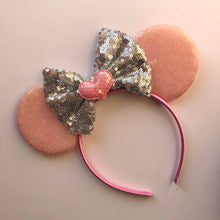 Load image into Gallery viewer, Pink & Silver Mouse Ear Headband