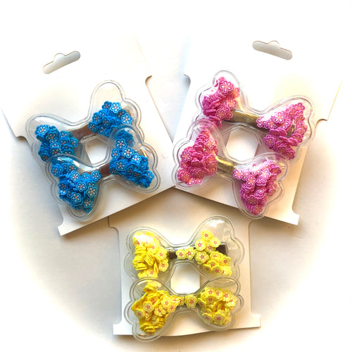 Flower bow clips