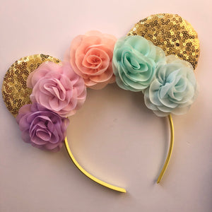 Pastel Rainbow Flower Mouse Ear Headband