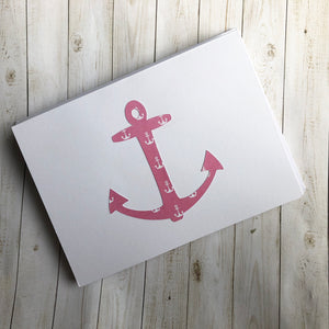Pink & Blue anchor note cards