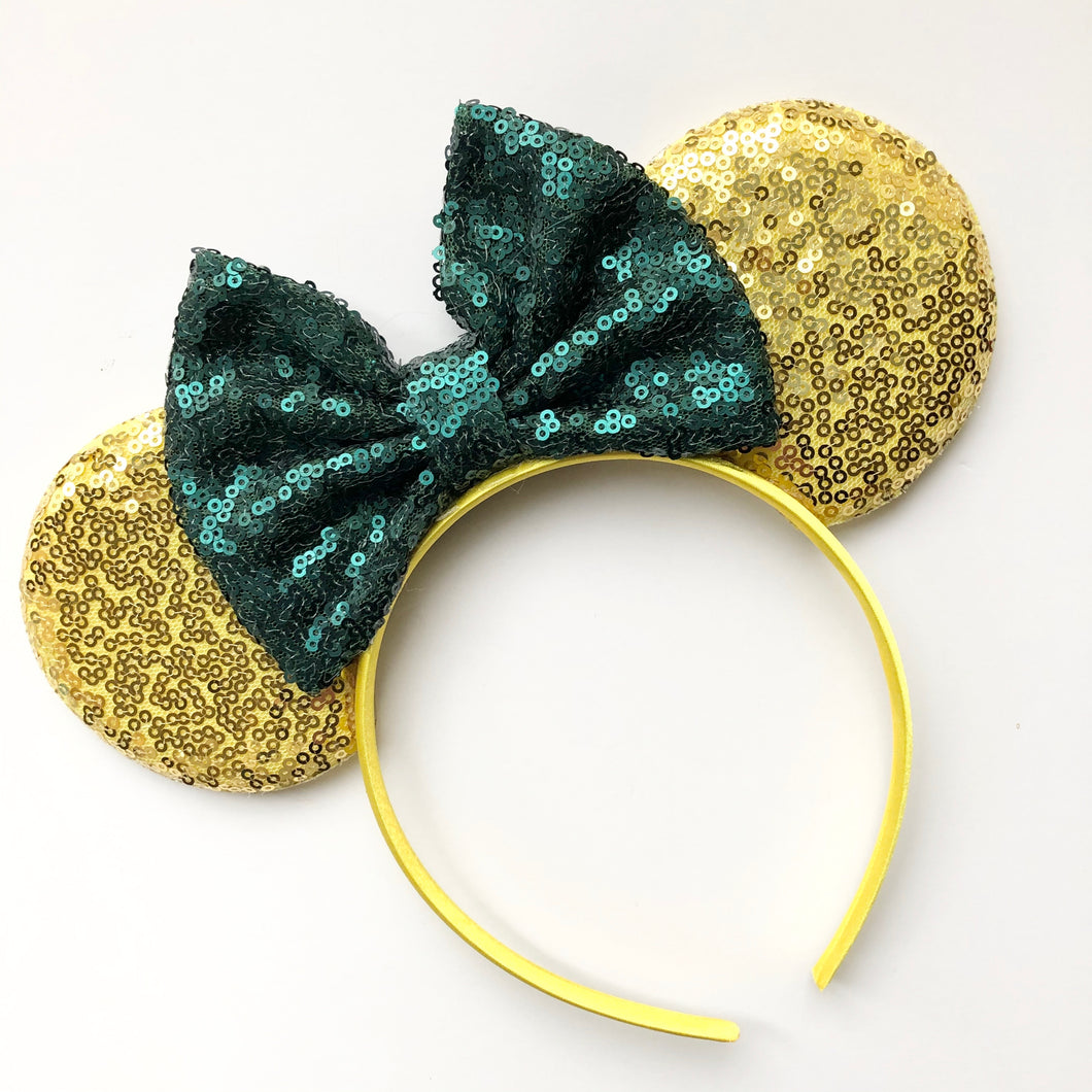 Gold & Green Mouse Ear Headband
