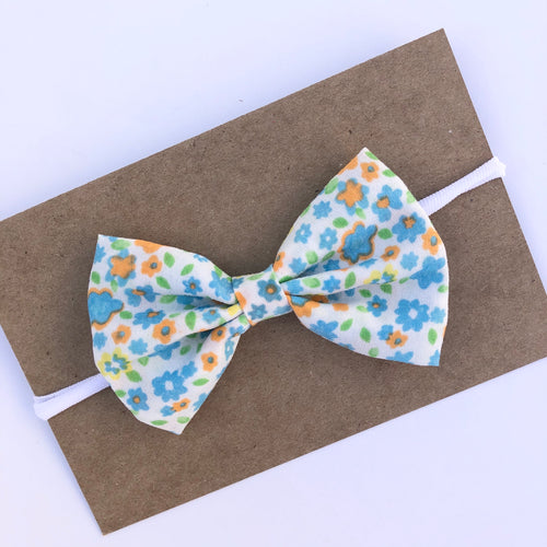 Blue Flower Bow on Nylon Headband