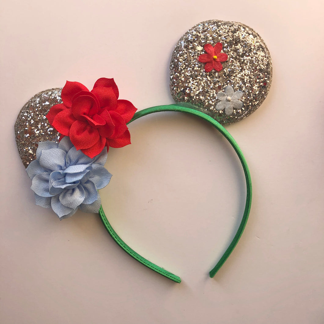Red & Blue Flower Mouse Ear Headband