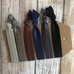 Dark Solid Hair tie set