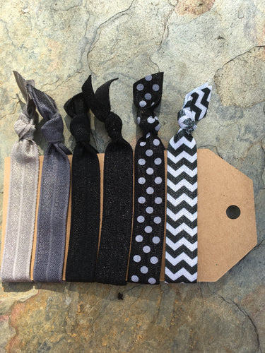 Gray & Black Hair tie set