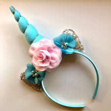 Load image into Gallery viewer, Pink & Aqua Unicorn Headband