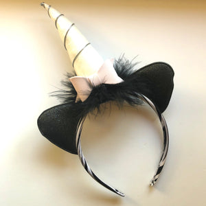 Pink & Black Unicorn Headband