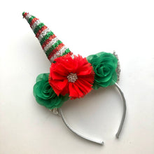 Load image into Gallery viewer, Red, Green, & Silver Unicorn Headband