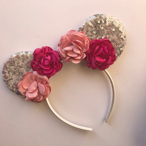 Pink Flower & Silver Mouse Ear Headband