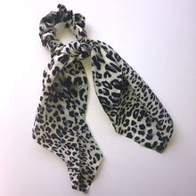 Load image into Gallery viewer, Faux Silk Long tail scrunchie - leopard