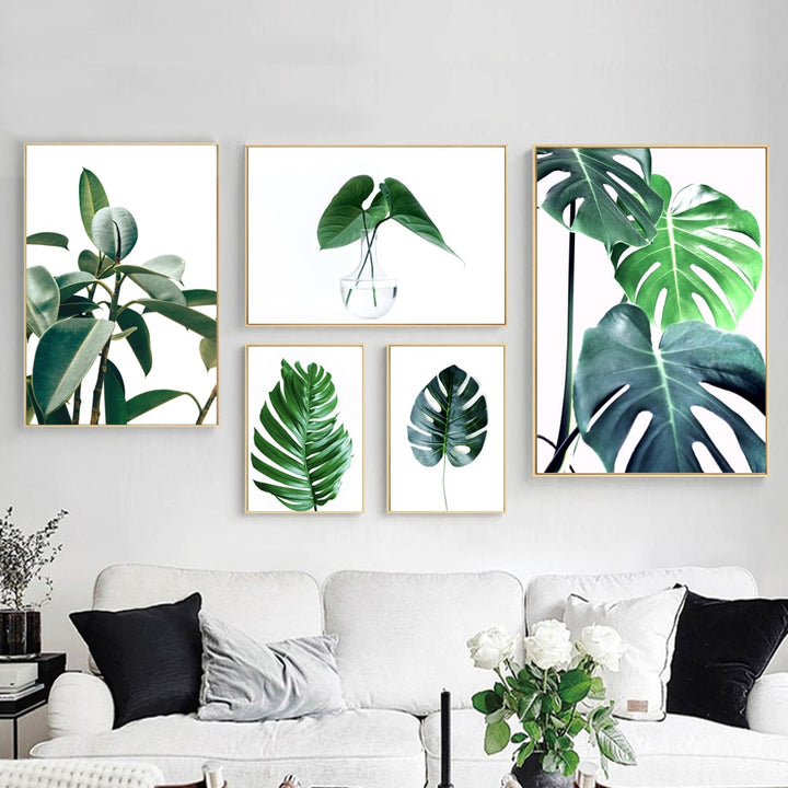 Leafy Plant Print Series On Canvas