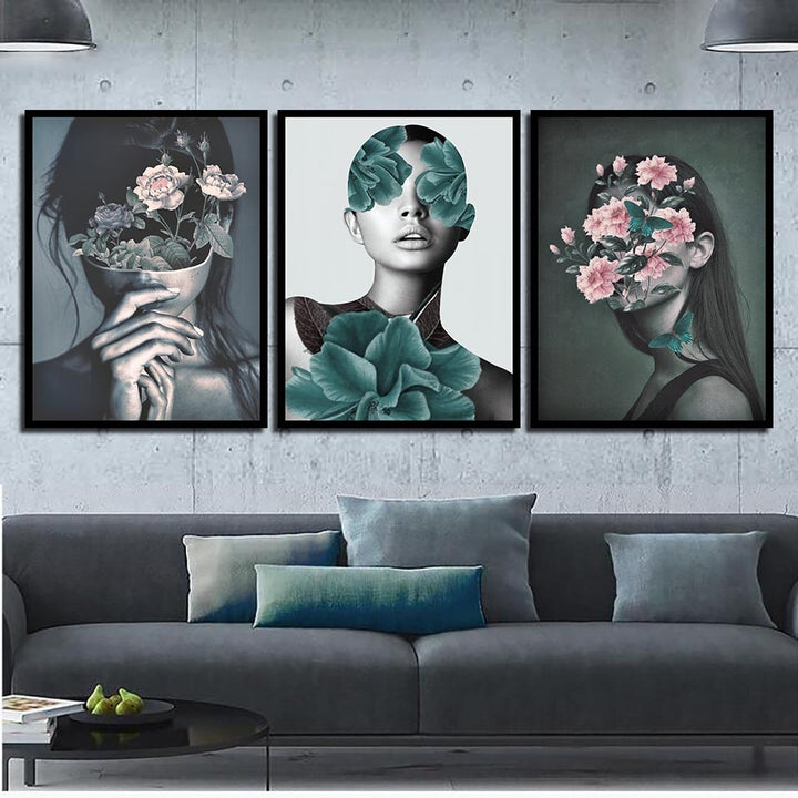 Designer Flower Girl Print Series On Canvas