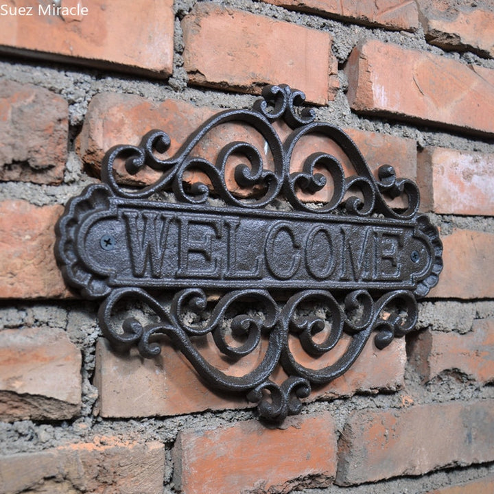 Cast Iron Country Style Welcome Sign