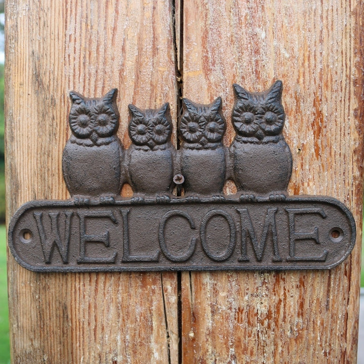 Cast Iron Owls Welcome Sign