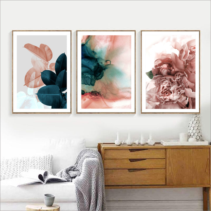 Modern Pink & Green Floral Print Series On Canvas