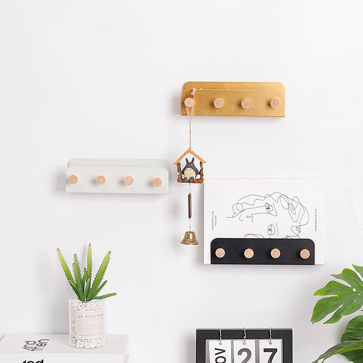 Metal And Wooden Wall Rack + Coat Hooks