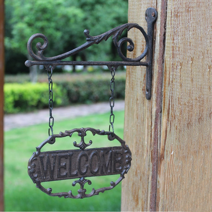 Cast Iron Hanging Oval Welcome Sign