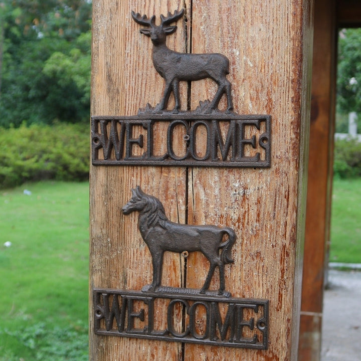 Cast Iron Animal Themed Welcome Sign