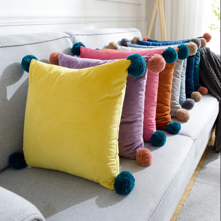 Velvet Chair Cushion with Pom Poms