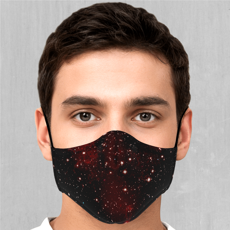 Crimson Space Face Mask - EDM Rave Festival Street Wear Abstract Apparel