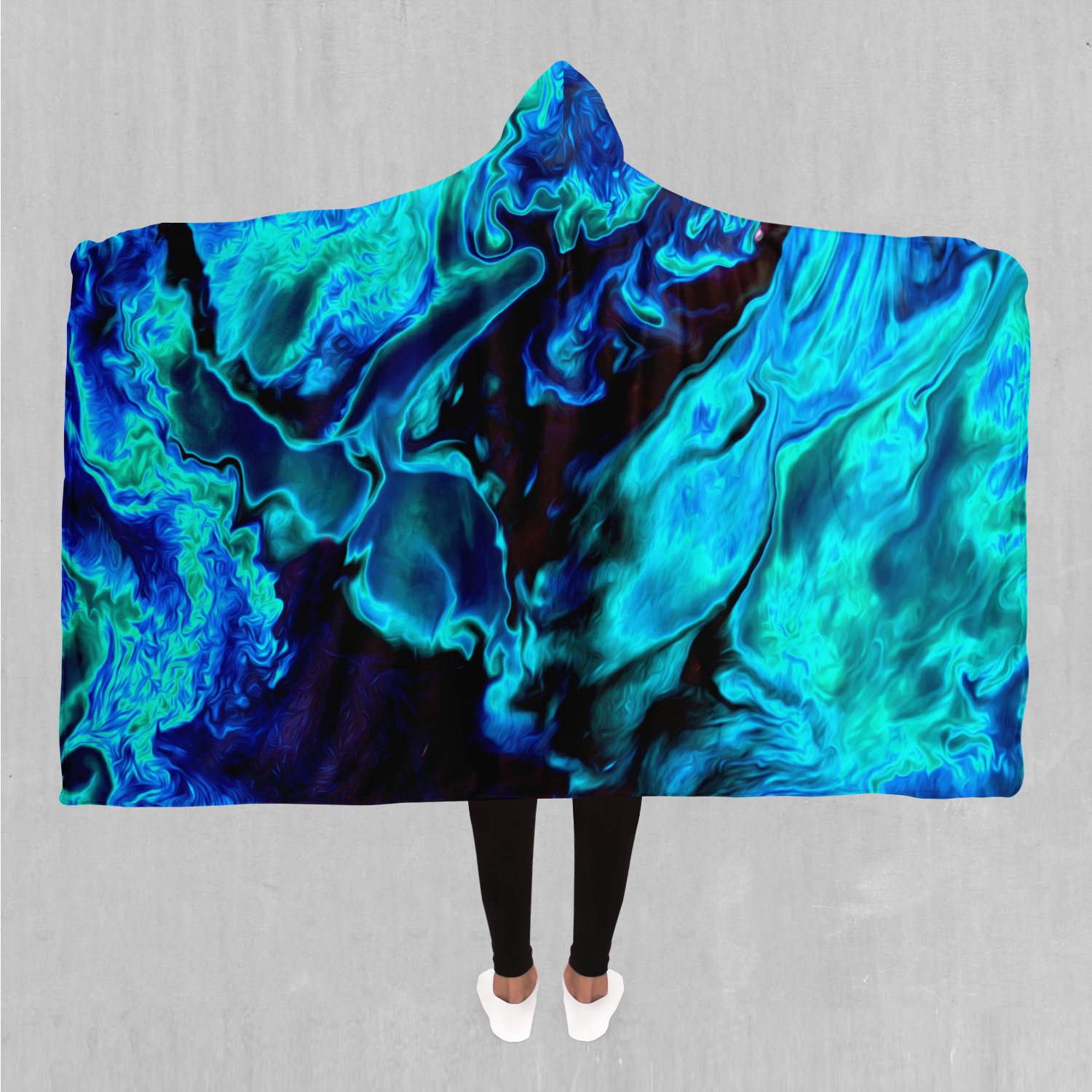 Enigma Sea Hooded Blanket - EDM Rave Festival Street Wear Abstract Apparel