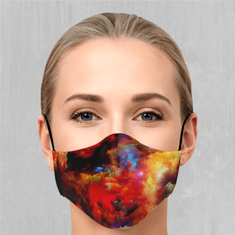 Rainbow Dust Face Mask - EDM Rave Festival Street Wear Abstract Apparel