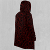 Red Topographic Cloak - EDM Rave Festival Street Wear Abstract Apparel