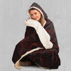Red Topographic Hooded Blanket