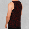 Red Topographic Men's Tank Top - EDM Rave Festival Street Wear Abstract Apparel