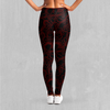 Red Topographic Leggings - EDM Rave Festival Street Wear Abstract Apparel