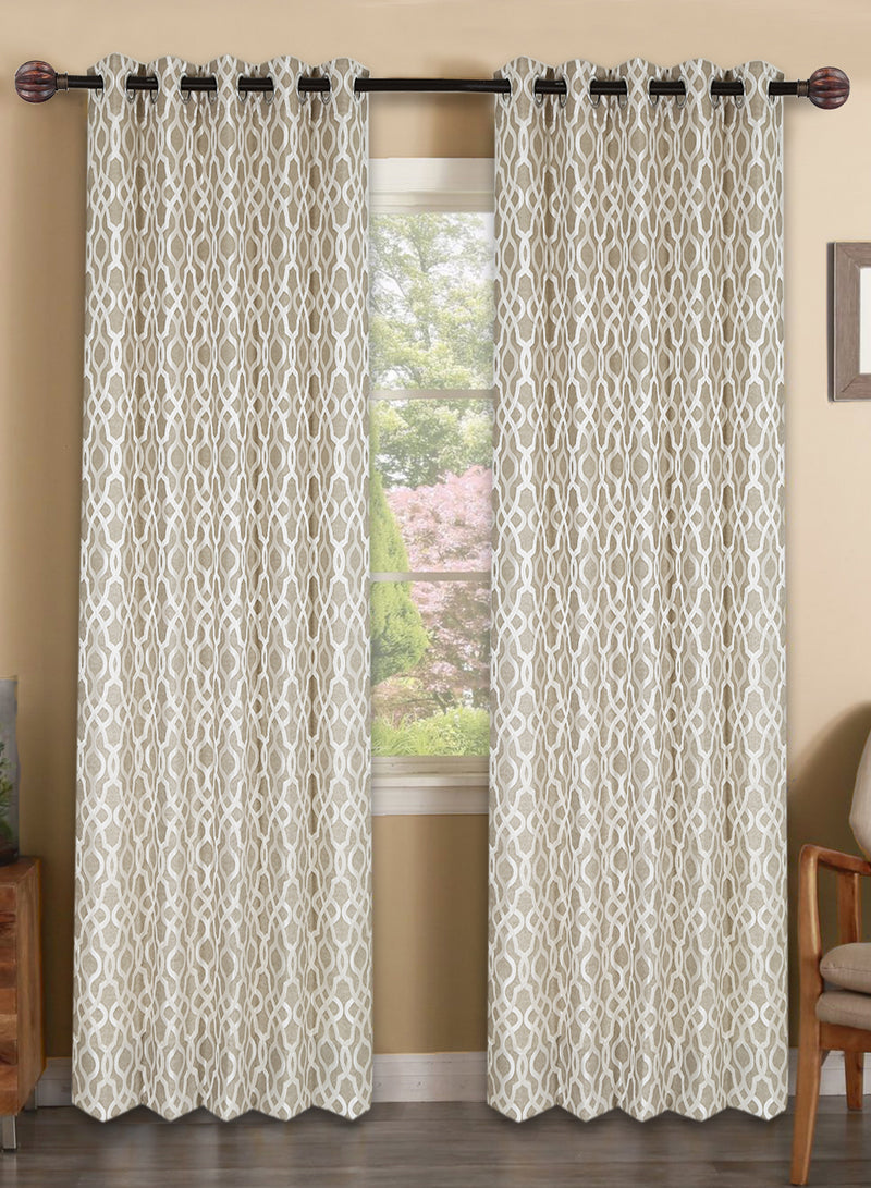 Urban Hues Polyester Jacquard Window, Door Curtains-Beige