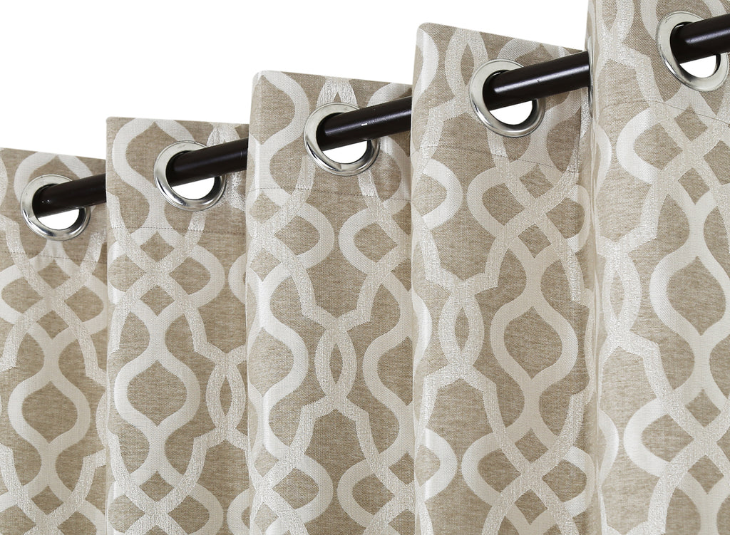 Urban Hues Polyester Jacquard Window, Door Curtains-Hazel Wood