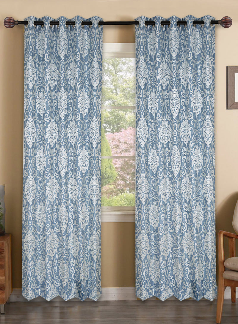 Urban Hues Polyester Jacquard Window, Door Curtains-Sky Blue