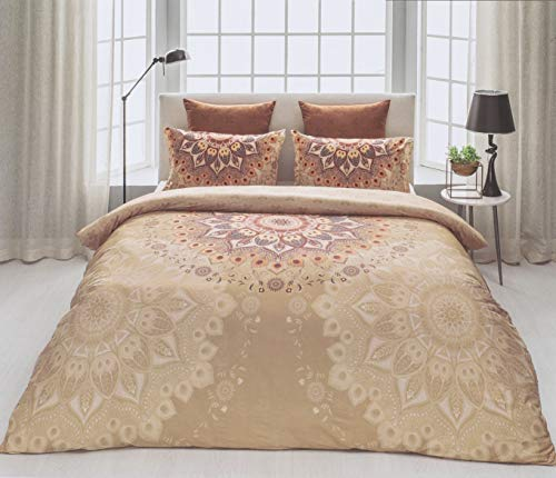 D'Decor Cotton Comfort 150 TC Double Bedsheet with Pillow Covers - Orange Rust