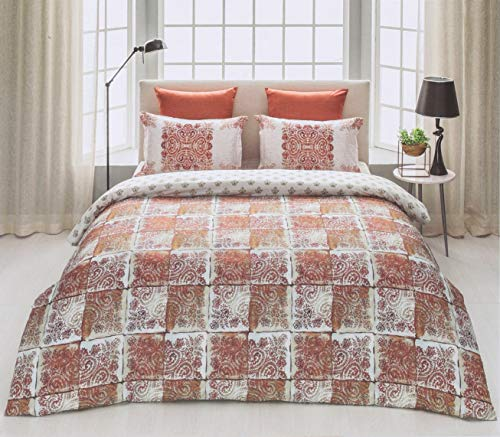 D'Decor Cotton Comfort 150 TC Double Bedsheet with Pillow Covers - Burnt Red