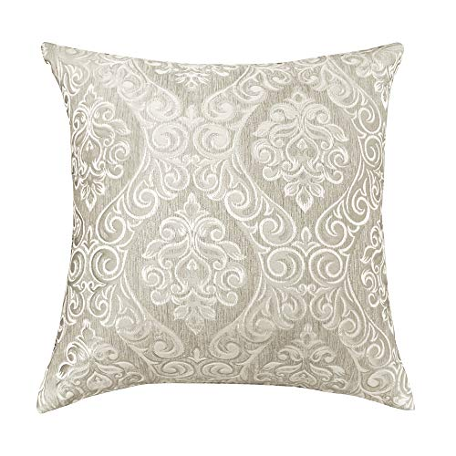 Urban Hues Designer Jacquard Decorative Throw Pillow Covers (16x16 Inch, Beige)