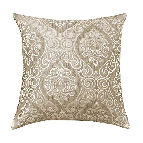 Urban Hues Designer Jacquard Decorative Throw Pillow Covers (16x16 Inch, Camel)